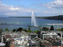 Jet d'Eau seen from the Tower of Cathedrale de St-Pierre (Normann) Tags: church fountain switzerland geneva cathedral jetdeau