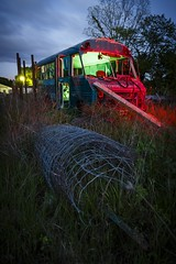 Red-Green Shuttle (Notley) Tags: blue light sunset red sky lightpainting bus tree green abandoned night clouds evening midwest may missouri hour greenlight bluehour redlight nocturne 2016 shuttlebus 10thavenue notley ruralphotography ruralusa fencewire overtonmissouri notleyhawkins coopercountymissouri missouriphotography httpwwwnotleyhawkinscom notleyhawkinsphotography