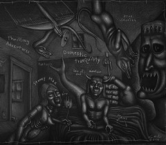 Domestic Tranquility (Tom McKee / Art Guy) Tags: pencil ink dark drawing surrealism surreal scifi deviant surrealist narrative lowbrow visionary prisma visionaryart rawvision narrativeart artvisionary