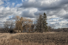 When All That Is Left Is The Sound Of The Demolition Man's Hammer (Brian Rome Photography) Tags: travel brick field clouds farmhouse landscape cloudy outdoor farm shed mortar urbanexploration fields crops homestead plowed urbex bandoned farmings
