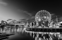 Last light at Science World (Daniel's Clicks) Tags: longexposure blackandwhite canada vancouver yvr vancity vancitybuzz