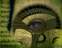 Old music (Mi_Per) Tags: portrait music abstract green eye art face lady vintage cards mugs artwork notes surreal pillows textures fantasy virtual gift installation dreamy decor sureal skirts cases transformed