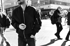 Bomber Jacket (Jared Chernick) Tags: street blackandwhite newyork manhatten