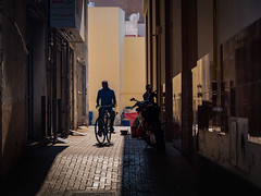 Cycling on Cobblestone (Darren Keast) Tags: sunshine holidays tranquil bicycle sunrise historic peaceful dubai city cobblestone vacation streets alley cyclist earlymorning uae downtown travel middleeast leisure relaxation unitedarabemirates scenic souq tourism shops traditional ae
