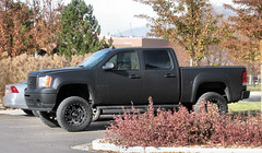 Flat Black GMC 4X4 (Eyellgeteven) Tags: black truck nice gm 4x4 pickup pickuptruck vehicle denali gmc matte madeinusa americanmade fourwheeldrive lifted generalmotors flatblack 4door crewcab matteblack 12ton generalmotorscorporation shortbed k1500 2010s gmcdenali eyellgeteven