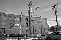 2100 West 25th Street (from Chatham Avenue) - Cleveland, OH (Rex Mandel) Tags: urban blackandwhite bw brick architecture shadows cleveland warehouse powerlines telephonepoles opticalillusion telephonewires brickbuilding westsidemarket rustbelt urbex clevelandoh powerpoles