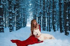 Snowtale (Nikita Trutenin) Tags: blue trees girls red portrait dog girl beauty fairytale forest bokeh