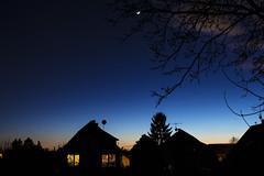 Sunset (Pcz Gerg) Tags: sunset sky cloud moon nature canon garden lens long exposure hungary outdoor dusk budapest serene suburb kit magyarorszg 700d