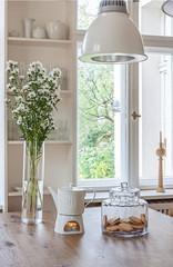 Tealight Candle Heated Teapot (Heath & the B.L.T. boys) Tags: flowers tea diningroom vase shelves jars pendantlamp