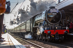 """LNER Recently restored Class A3 60103 (4472) The """"Flying Scotsman"""" At Newark Station on 25-02-2016 with it's inaugural run from Kings Cross to York (kevaruka) Tags: uk greatbritain winter england sun color colour history public colors sunshine station train canon outdoors eos flickr colours pacific unitedkingdom transport engineering rail railway sunny trains ne historic telephoto trainstation 5d a3 backlit newark railtour february crowds nottinghamshire sunnyday steamtrain flyingscotsman eosdigital lner 4472 ecml theflyingscotsman 60103 newarknorthgate railnetwork canon5dmk3 5dmk3 5d3 canonef1004004556l eos5dmk3 5diii canoneos5dmk3 25022016 telephototrains"""