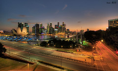 Vista view of Singapore CBD (Ken Goh thanks for 2 Million views) Tags: lighting longexposure blue sky cloud reflection water colors night marina landscape photography bay pentax dusk district central smooth wideangle business hour cbd sands 1020 mbs panoromic simga k5iis