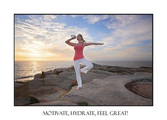 Woman balance drinking wqter during exercise (sugarbellaleah) Tags: ocean life morning woman seascape water yoga female standing sunrise pose landscape bottle scenery exercise drinking lifestyle australia health blonde balance diet fitness balancing thirsty fit recovery hydration vitality oneleg