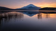 Sunset at Yamanakako (Yuga Kurita) Tags: sunset nature japan reflections landscape landscapes fuji mt mount fujisan fujiyama