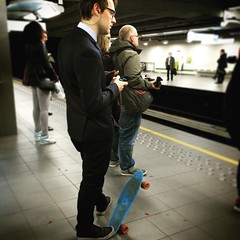 Skateboard suits you (ZoRRaW photography) Tags: brussels underground metro candid bruxelles skateboard streetphoto urbanstyle
