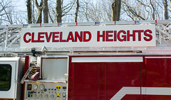 Truck 221 left side upper - Cleveland Heights Fire Department (Tim Evanson) Tags: hydrant firetruck firedepartment laddertruck clevelandheightsohio clevelandheightsfiredepartment
