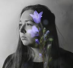 (Cara Steed) Tags: portrait flower monochrome selectivecolour