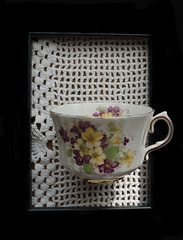 Cup (Mulewings~) Tags: stilllife cup framed frame opticalillusion doily tricky 52bestill