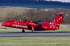 Air Greenland, DHC-8 Q202, OY-GRH. (M. Leith Photography) Tags: sunshine scotland airport nikon aviation air 8 aeroplane dash greenland prop aeroplanes prestwick d7000 70200vrii markleithphotography