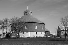 B&W In The Round (Images by MK) Tags: trees windows roof blackandwhite bw wisconsin barn rural countryside wooden farm shingles cupola round agriculture wi roundbarn farmstead