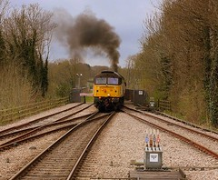Robin of Templecombe at East Grinstead. (Chris Baines) Tags: railway east bluebell approaching grinstead colas 47739