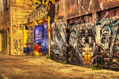 Life is colorful, artful, and sometimes messy (PeterThoeny) Tags: sanfrancisco california color art colors night graffiti alley mural colorful raw outdoor mission missiondistrict hdr garagedoor 2xp photomatix fav100 nightcolors nex6 sel50f18