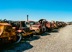 Line Up (LXG_Photos) Tags: abandoned mac rust campo trucks eos3 motortransportmuseum ektar100