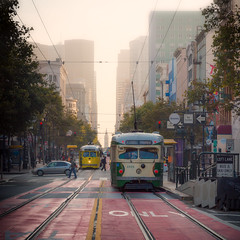 Early on Market, San Francisco (Darren LoPrinzi) Tags: sanfrancisco california ca street city morning light urban bus canon square warm publictransportation trolley earlymorning streetscene transportation squareformat bayarea 5d canon5d marketstreet streetcar miii marketst