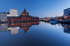 Uspenski Cathedral at Dusk (Johannes Valkama) Tags: city travel bridge sunset sky reflection building church water architecture sailboat finland river outdoors evening town canal helsinki cityscape waterfront cathedral dusk orthodox uspenskicathedral uspenski noperson