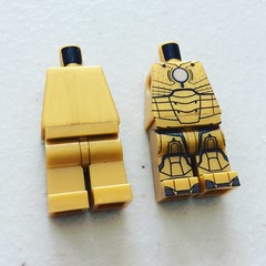 Before and After (X39BrickCustoms .com) Tags: gold lego mark ii pearl custom printed minifigure