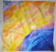 zakat__4 (Gi--Gi) Tags: blue sunset sky mountains yellow landscape handmade silk batik accessorize