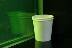DSC02234 (The Man-Machine) Tags: stilllife white black reflection green window office geometry coffeecup coffe ratherminimal