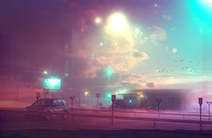 Superimposed (The North Shore) Tags: light sky industry film birds night 35mm vintage loneliness space parking dream lot retro blended desolate blending