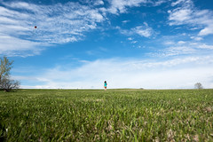 Big Sky, Little Girl (Benjamin Sullivan) Tags: blue sky white kite green beautiful grass clouds bright vast