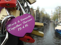 Mark & Danielle love Amsterdam. (Flyingpast) Tags: travel bridge vacation holiday holland colour macro love tourism church water netherlands beautiful amsterdam closeup outdoors boat canal europe pretty purple heart mark danielle vivid forever padlock zuiderkerk groenburgwal capitalcity citybreak wb2000 tl350 staalmeestersbrug