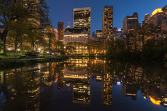 Plaza Hotel and Central Park South (Globalviewfinder) Tags: park street plaza new york city nyc flowers blue sky usa sun newyork reflection tower water night hotel spring centralpark united central donald states trump 59 59th