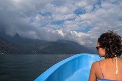 Get on the boat first and you'll be pushed to the back, stand around on the dock until they push off and you get seats on the bow. #theworldwalk #travel #guatemala