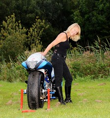 Julie_4538 (Fast an' Bulbous) Tags: santa england woman hot sexy girl bike speed evening pod nikon power boots outdoor euro gimp fast september turbo finals blonde motorcycle suzuki hayabusa d7100