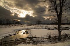 changing moods of winter (Barbara A. White) Tags: winter snow ontario canada landscape stream january silhouettes sunburst stormclouds woodlawn blakeney splitrailfence lanarkcounty