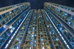 Kwai Fong Estate, Hong Kong (mikemikecat) Tags: blue house building public architecture hongkong colorful pattern estate sony nostalgia scifi housing  stacked cyber chung fong kwai  a7r    mikemikecat