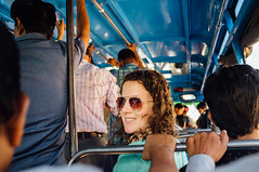 Meghan on a bus in Kozhikode (Premshree Pillai) Tags: india meghan kerala sabbatical kozhikode indiajan16
