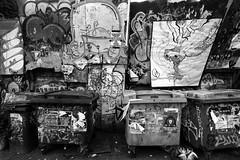 Bristol's Cultural Quarter (weirdoldhattie) Tags: urban blackandwhite bw bristol bin rubbish stokescroft