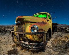 Polaris Express (dejavue.us) Tags: california longexposure nightphotography lightpainting abandoned truck nikon desert fullmoon fisheye international nikkor startrails mojavedesert d800 105mmf28 vle