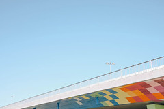 colors moshpit (statsny) Tags: road street bridge blue shadow red sky sun abstract color art yellow architecture composition contrast concrete nikon sofia models streetphotography minimal bulgaria cubes minimalism minimalistic