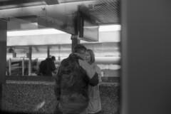 saying good bye [analog] (ja nina) Tags: street travel blackandwhite bw train canon blackwhite transport streetphotography trainstation canona1 canonfd
