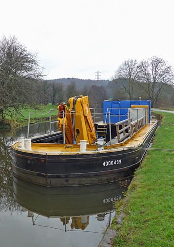 """Dredger """"Liverpool"""" in the Leeds and Liverpool Canal at Apperley Bridge"""