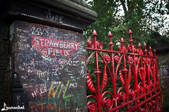 Strawberry Fields gates (gigchick) Tags: red england liverpool strawberry tour gates cab taxi fields beatles fab4 strawberryfields thebeatles fabfour