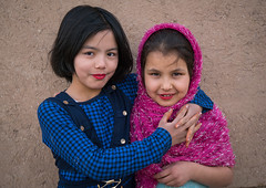 afghan refugee girls with lipstick, Central County, Kerman, Iran (Eric Lafforgue) Tags: pink girls boy portrait people afghanistan childhood horizontal kids youth children outdoors photography war asia day friendship iran refugee muslim young middleeast makeup persia social afghan conflict lipstick 2people twopeople kerman immigrant humanitarian middleeastern frontview clandestine migrant displaced afghani socialissues lookingatcamera  humanitarianism  childrenonly  iro  centralcounty colourpicture  afghaniculture irandsc07248
