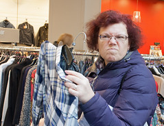 IMG_6668 (jimj0will) Tags: woman face shopping pulling shopper odc environmentalportrait