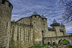 Old rainy castle (frederic.gombert) Tags: city sky france green castle rain grey ancient south rainy aude fortress carcassonne languedoc middleage cathare