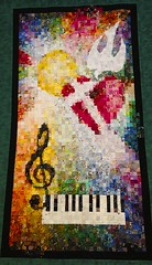 Where, oh where is love? (Pejasar) Tags: light sun color art quilt dove musical quilted pianokeys churchbanner quiltedart